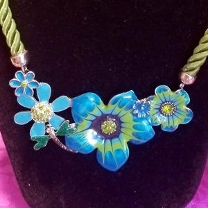 NEW enamel rhinestone flower dragonfly necklace